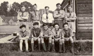 Scouts 1955. Standing l-r. Chris Merriman, Anthony Reeve, Mr Hickling, Robin Amor, Seated l-r. Chris Brodie, David Stanley, Jos Benfield, Robert Fowles