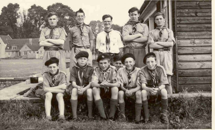 Campden School Scouts 1955. Standing l-r. Chris Merriman, Anthony Reeve, Mr Hickling, Robin Amor, Seated l-r. Chris Brodie, David Stanley, Jos Benfield, Robert Fowles