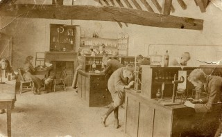 internal view of science lab at grammar schoolc.1900