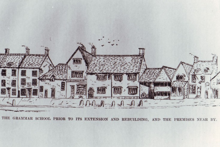 Contemporary sketch showing the two storey school building in the centre with two dwellings on the left that were demolished in order to enlarge the school