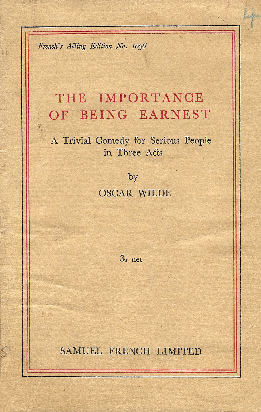 Importance of Being Earnest Dustcover from Play Book