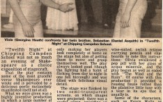 Twelfth Night at Campden School Dec 1979