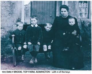 1912 Emily BRODIE with 4 sons l-r: Hugh Robert Brodie b. 1907 (known as Bob); Alexander Thomas Franklin Brodie b. 10 Jul 1905 (known as Alec); George Gardiner Brodie b. 17 Mar 1909; Emily Mary Ann Brodie b. 7 Feb 1880, nee Perry; William Gordon Brodie (known as Gordon) b. 8 Dec 1910