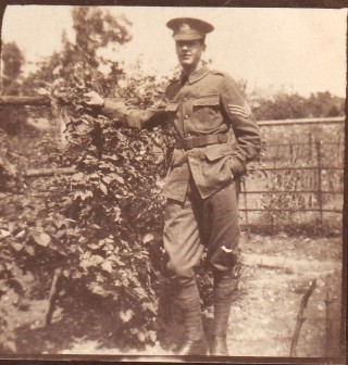 A G Ellis, wearing the school cadet uniform, 1917   Judith Ellis