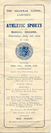 Sports Day 1915 programme cover