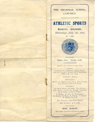 Athletics Sports Day 1915, programme cover