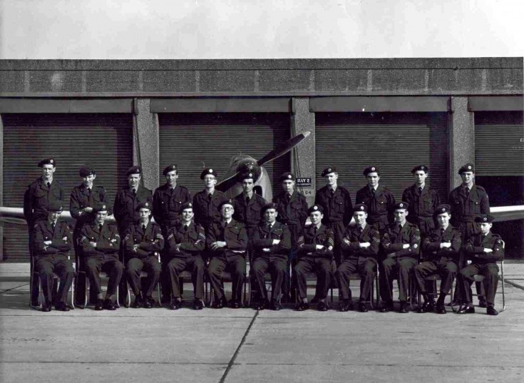 1589 Squadron, Grammar School ATC, c. 1961 Rear L-R Michael Walker, ? Alexander, Robin Print, David Sollis, Nicholas Jaques, Bronislaw Duduk, John Forte, Peter Harman, Denis Righton, John Withers, Willy Wiechec.  Front L-R ?, ?, Michael Nash, ?, 'Chick' Fowles, Bill Howells, Andrew Chisman, Christopher Jaques, Colin Burrows, ?, Fred Bullock. | Unknown
