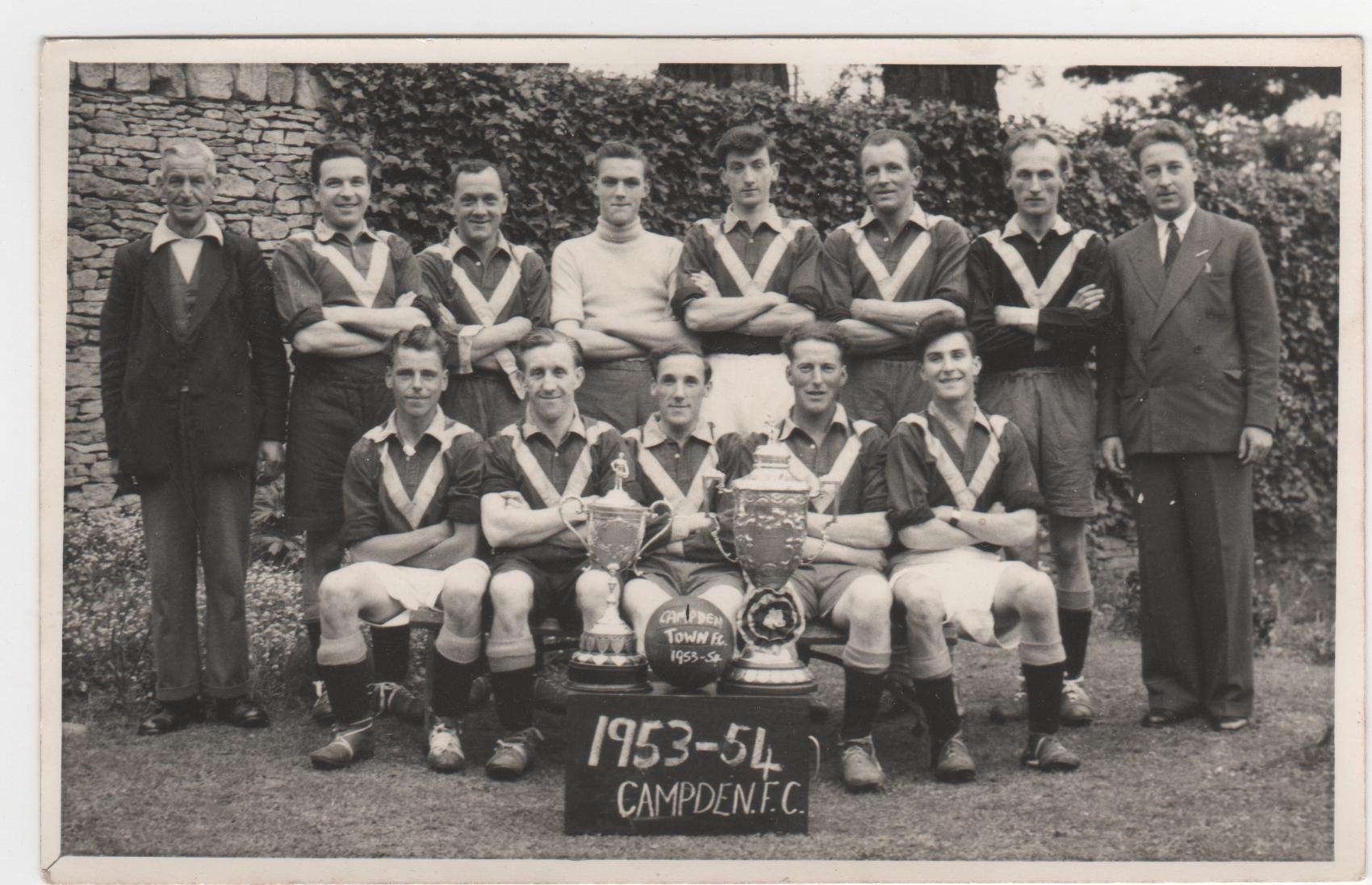 Campden Football Team 1953-4. Jimmy Beale seated centre.
