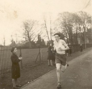 Bill Buckland winning the cross county race