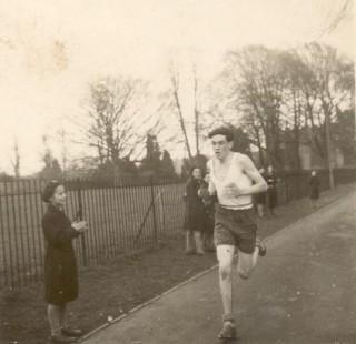 Bill Buckland winning the cross county race