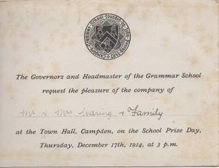Speech Day invitation 1914