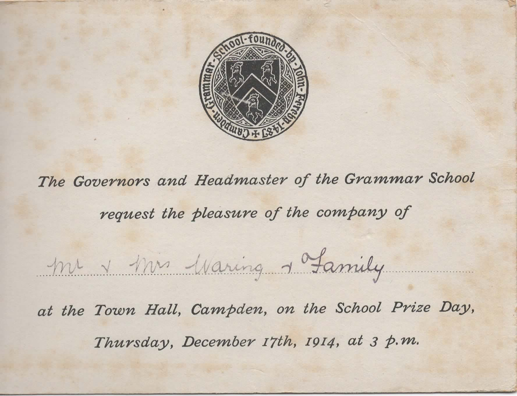 Frances waring archive chipping campden school speech day invitation 1914 stopboris Image collections