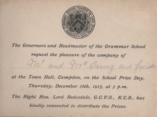 Speech Day invitation 1915