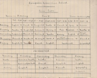 Handwritten school timetable