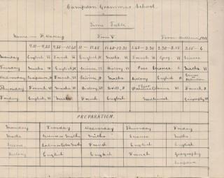 Handwritten school timetable