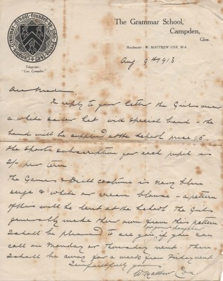 Letter from Headmaster about uniform 1913