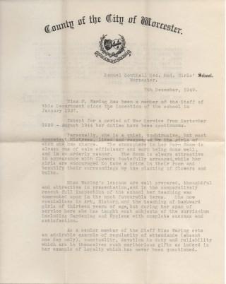 Testamonial for Frances Waring 1949, page 1