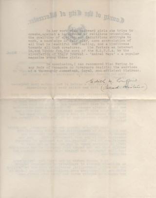 Testamonial for Frances Waring 1949, page 2