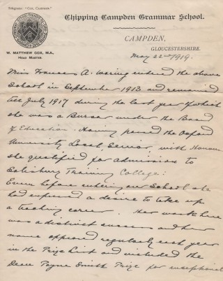 Commendation from Headmaster about Frances Waring 1917 p 1
