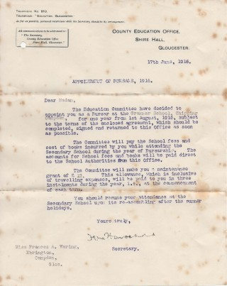 Frances Waring - bursary 1916