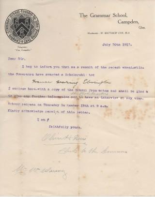 Scholarship award 1913 to Frances Waring