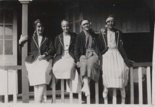Frances Waring second right, with college friends