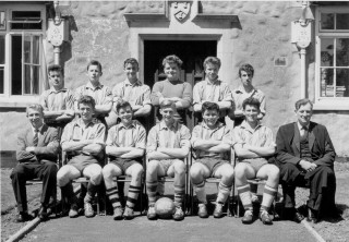 Football team 1961 Burrows, centre, Captain.