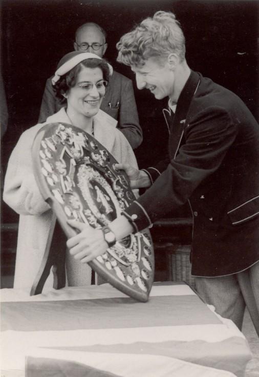 Mrs Howells, presenting the Swimming Shield