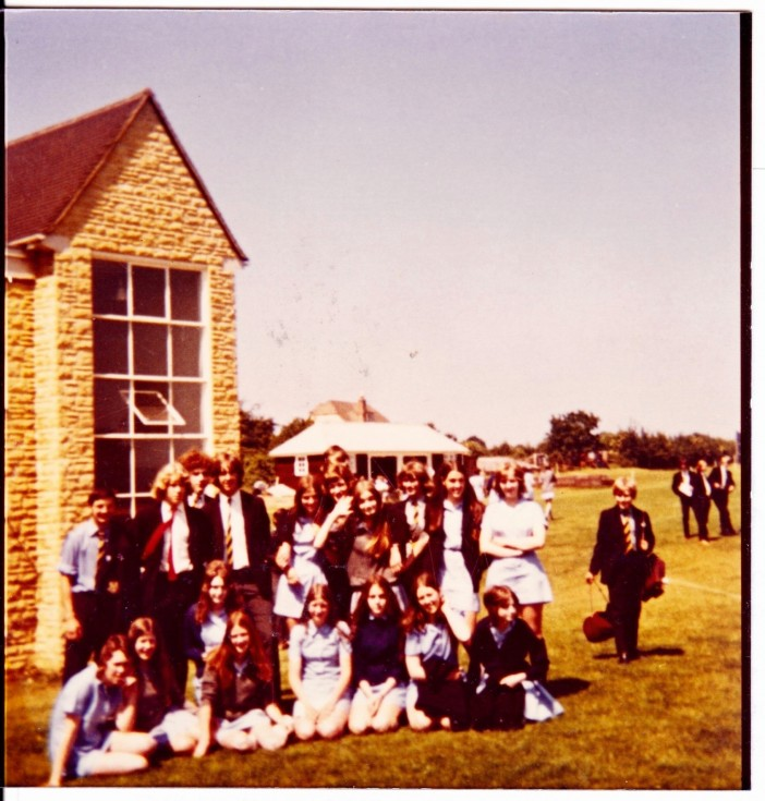 Group 1971 outside sports hall