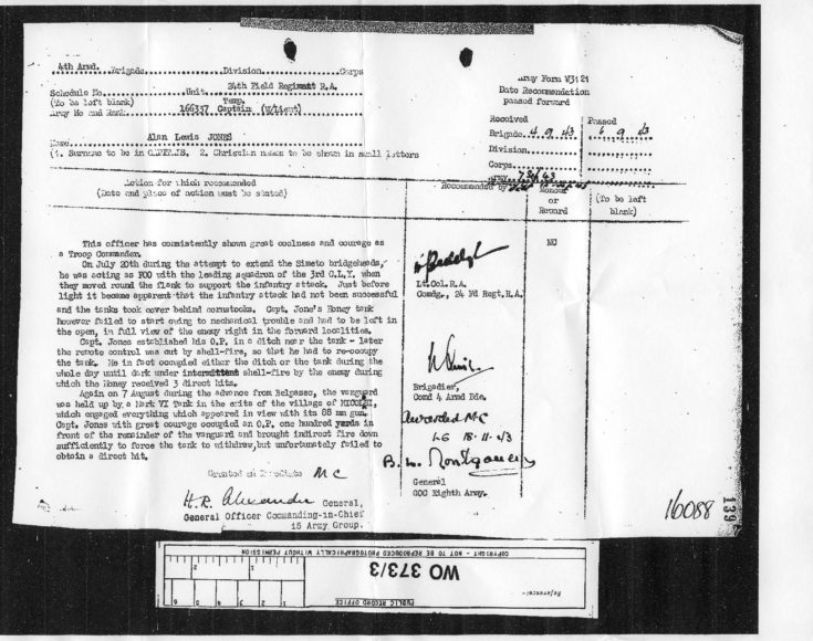 Mr A L Jones citation for Military Cross - 1943