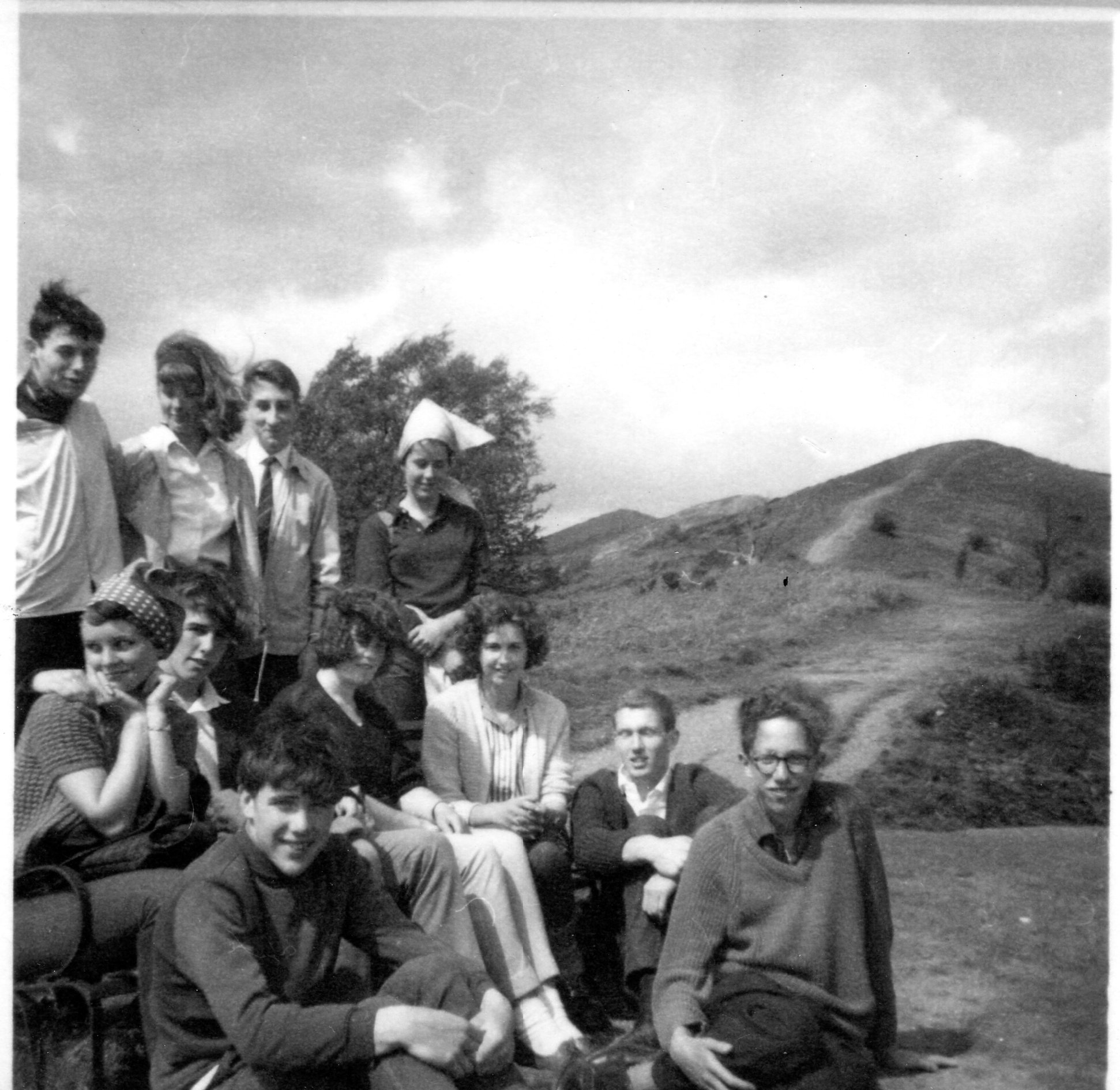 Sixth Form Outing Malvern 1965 John Withers, Jill Stanley, Peter Ellis, Vicki Franklin, Anne Smith, Trevor Watchorn, Nancy Righton, Diane Pettifer,Andrew Palmer, Chris Higley